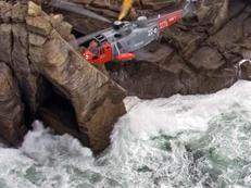 Search and Rescue Helicopter on a rescue off the Cornish coast
