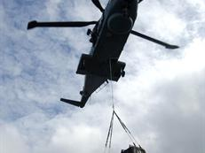 Merlin helicopter load lifting for 42 Cdo, Sierra Leone, 2006