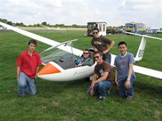 Students around a glider