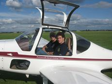 Student in a twin seat motor-glider