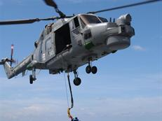 Lynx from HMS Cumberland carries out Replenishment at Sea