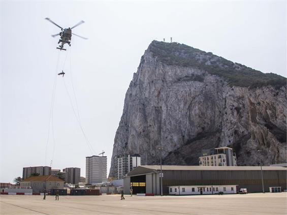 ROYAL MARINES IN STUNNING HELICOPTER ABSEIL ASSAULT IN GIBRALTAR