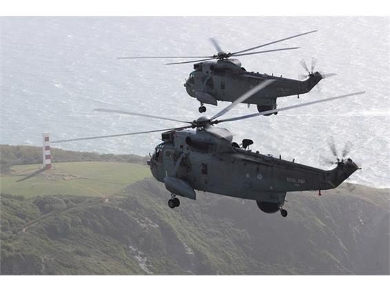 Sea King flypast ends 49 years of service by veteran helicopter