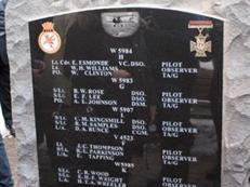 Close up of names on the memorial