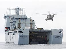 CHF Sea King operating from RFA Mounts Bay