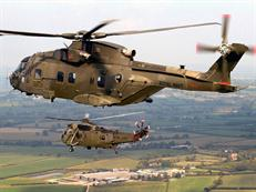 Merlin Mk3 helicopter in formation with a CHF Sea King Mk 4.