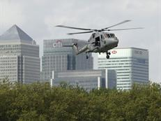 Lynx display over the Thames at Canary Wharf