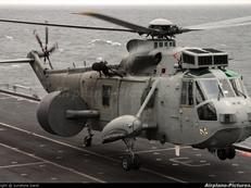 Sea King Mk7 ASaC landing on deck