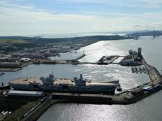 HMS Queen Elizabeth alongside her new berth