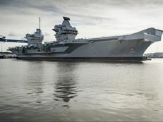 HMS Queen Elizabeth leaves her dock for the first time