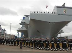 Royal Guard march past HMS Queen Elizabeth at the naming ceremony ©Craig Hoyle Flightglobal