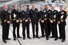 Lt Anthony Camblan and Lt Julien Fabre of the French Navy with Royal Navy Officers from the SKASaC F