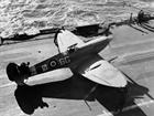 Supermarine Seafire warming up its engine for take on the deck of HMS Formidable