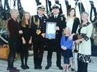 WO 1 AET Steve Cass and family with 2 SL, on the deck of HMS Victory