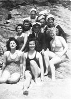 Loe Bar Swimming party – Dorothy seated front and centre