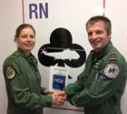 LACMN Sarah Christenson and Lt Cdr Rob O'Kane, Senior Observer 771 NAS