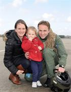 Gemma Illidge and Grace Benbow welcome home Lieutenant James Benbow
