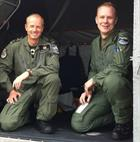 Lt Cdr Chuck Norris and Flight Lt Jon Owen RAF after the Scillies baby shout in Oct 2013