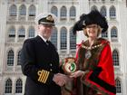 Captain Simon Petitt with Lord Mayor Fiona Woolf outside the Guildhall