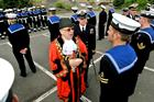 The Mayor of Helston, Councillor Michael Thomas inspects the Guard