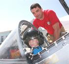 NA AH Gleeson and a future Naval aviator in the Harrier Cockpit