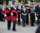 Anthony Pyke in front of Glasgow Cathedral and part of the wreath laying ceremony