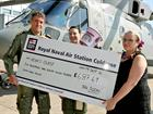CO 824 NAS, Cdr Steve Thomas and POACMN Shona Smith presenting the cheque to Heidi Mallinder