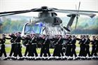 Navy guard marches past Merlin Mk3