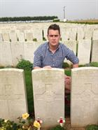 LAET Nathan Astill at the grave of his Great, Great Uncle Alfred Clements, Bedfordshire Regt