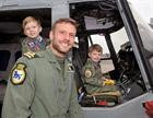 Owen Chandler (4), Dad Flight Commander Lieutenant Russ Chandler and Alfie Chandler (3)