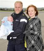 The Carroll Family L-R - LAET Dan Carroll, wife Sarah and Baby Reuben (2 months)