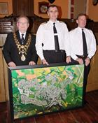 Mayor of Helston Mike Thomas, Capt Adrian Orchard OBE and Lieutenant Commander Neil Bennetts, Culdro