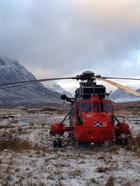 SAR Sea King at the base of the mountain