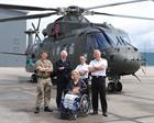 Major Jon Parry, Richard Maw, WO1 Steven Wood, Commanding Officer of RNAS Yeovilton Commodore Jock A