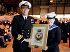 Cdr Steve Thomas CO 824 NAS presenting the Special Endeavour award to NA Karen Fletcher