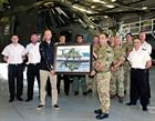 Lt Col Stafford, CO 846, Chris Shaw and 846 NAS personnel  unveiling painting