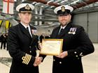 CACMN Joe Shelverton receives his Commendation from Capt Adrian Orchard OBE