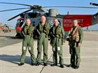 Last flight for WOACMN Ian 'Zippy' Thompson. [L to R] Lt Alex Stevenson, WOACMN Ian Thompson, RAdml