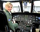 Helen Skelton at the controls of the SAR helo
