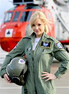 Helen Skelton in front of SAR helo