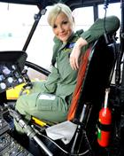 Helen Skelton in the pilot's seat