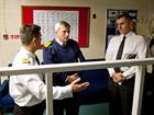 Fleet Commander being briefed on FDO Simulator by Lt Rich Turrell, Capt Orchard looks on