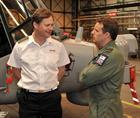 Lieutenant Commander Philip Richardson, Senior pilot 815 NAS briefing Matthew Offord MP for Hendon.