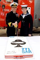 Rear Admiral Keith Blount and AET Ryan Pitt, the youngest serving person at 771 NAS