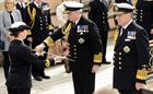 Admiral Sir Philip Jones (centre) takes over as First Sea Lord from Admiral Sir George Zambellas (ri