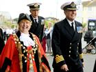 Mayor Gillian Geer and Capt Dan Stembridge Cdr Ian Fitter in the rear