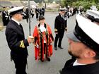 The Mayor and Capt inspect the honour guard