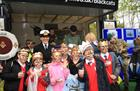 Lt Cdr Breach and School Children from Yeovil