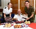 L to R Leading Writer Sian Harley, Cdr Carretta and Corporal James