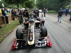 AET 'Bunny' Warren with Lotus cars at the Goodwood Start line